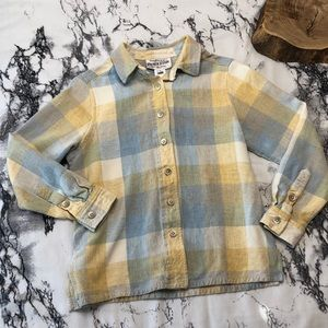 Vintage Pendleton Yellow and Light Blue Flannel SP